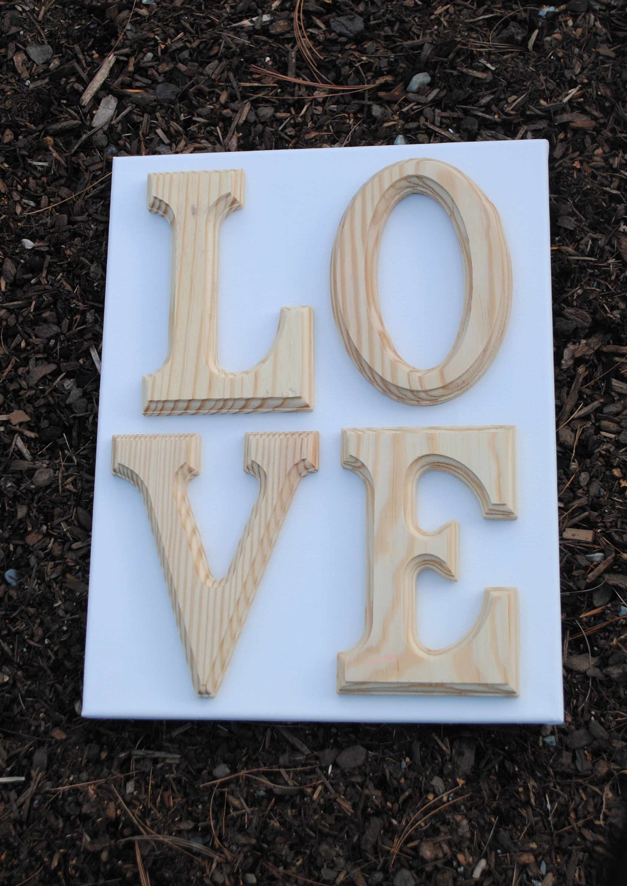How to paint wooden letters on canvas for Wooden letters on canvas