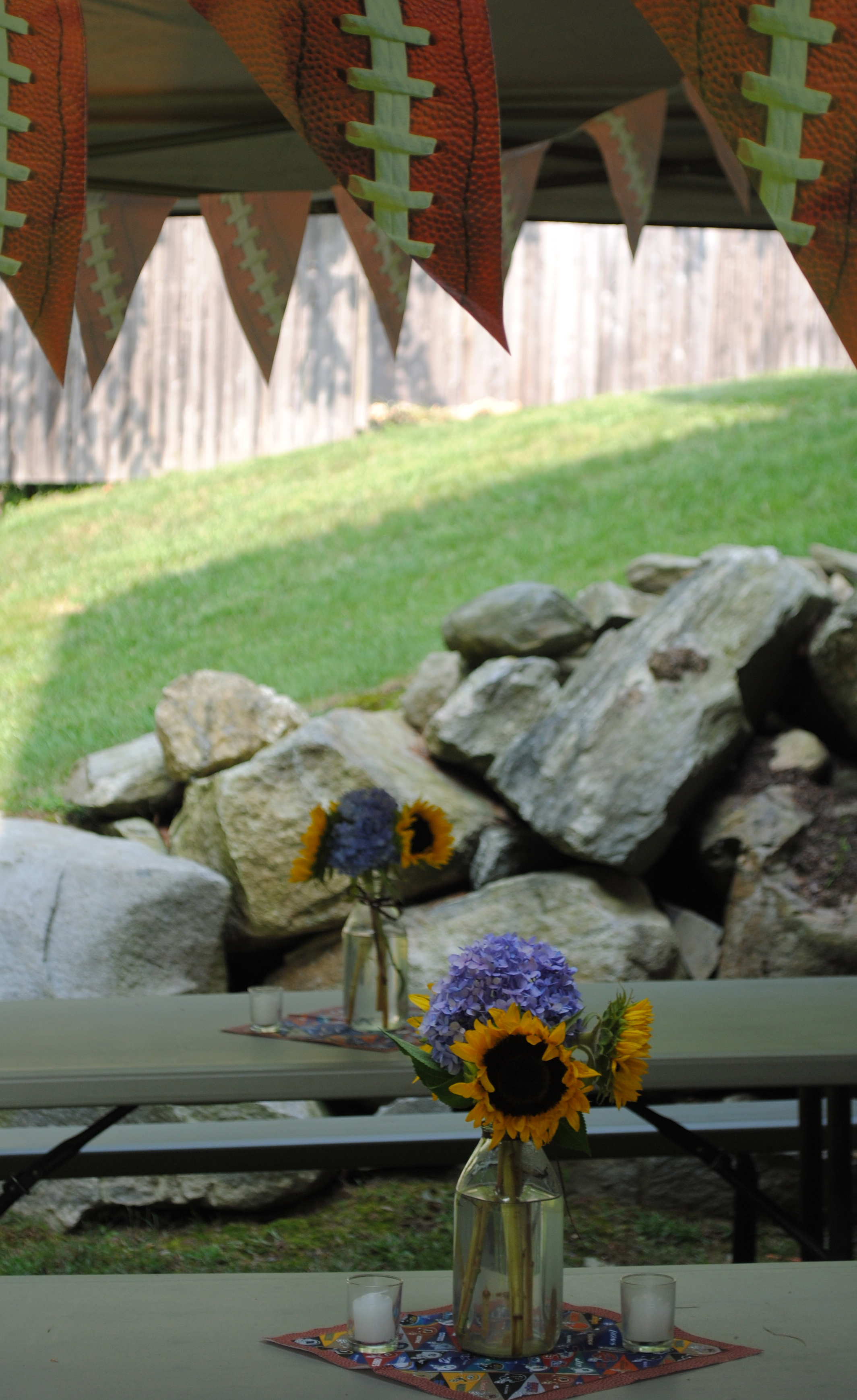 ... made some simple centerpieces for the picnic tables a football banner